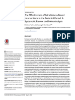 The Effectiveness of Mindfulness-Based Interventions in the Perinatal Period- A Systematic Review and Meta-Analysis