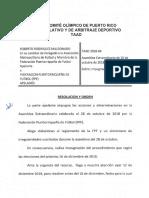 Resolución del Tribunal Apelativo y de Arbitraje Deportivo