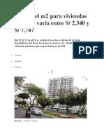 Precio Del m2 Para Viviendas en Lima Varía Entre S