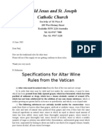 Specifications for Altar Wine for the maker