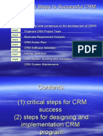 CRM (1) Critical Steps for Success (2) Steps for Designing and Implementation