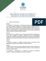 Reglamento de Reconocimiento y Validacion de Estudios Previos