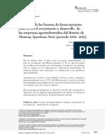 Influencia de las fuentes de financiamiento externo en el crecimiento y desarrollo  de las empresas agroindustriales del distrito de  UNAD