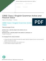 CBSE Class 7 English Grammar Active and Passive Voice - CBSE Tuts
