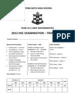 Epping Boys 2012 2U Trials & Solutions