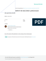 The Role of Input in Second Language
