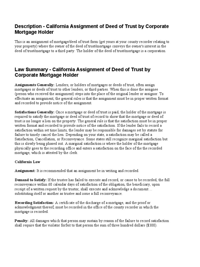 Legal effect of deed of assignment