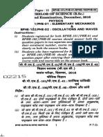 Mechanics IGNOU Paper