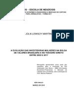 A Evolução Das Mulheres Investidoras No Tesouro Direto e Na Bolsa Entre 2002 e 2017 - Juia Lewgoy