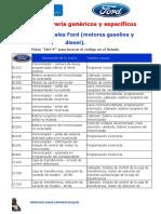 Códigos de Avería FORD Genéricos y Específicos