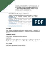 PROCESO DE ECLOSION, CRECIMIENTO Y REPRODUCCION DE LA ARTEMIA SALINA