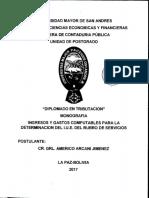 Dt-V-xii-016 Ingresos y Gastos Computables Para La Determinacion Del Iue Del Rubro de Servicios