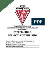 Plan de Práctica 2018 Servicios de Turismo