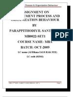 MB0022 Management Process and Organization Behaviour