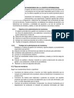 Administracion de Inventario en La Logistica Internacional y Sistemas de Informacion en La Logistica Internacional