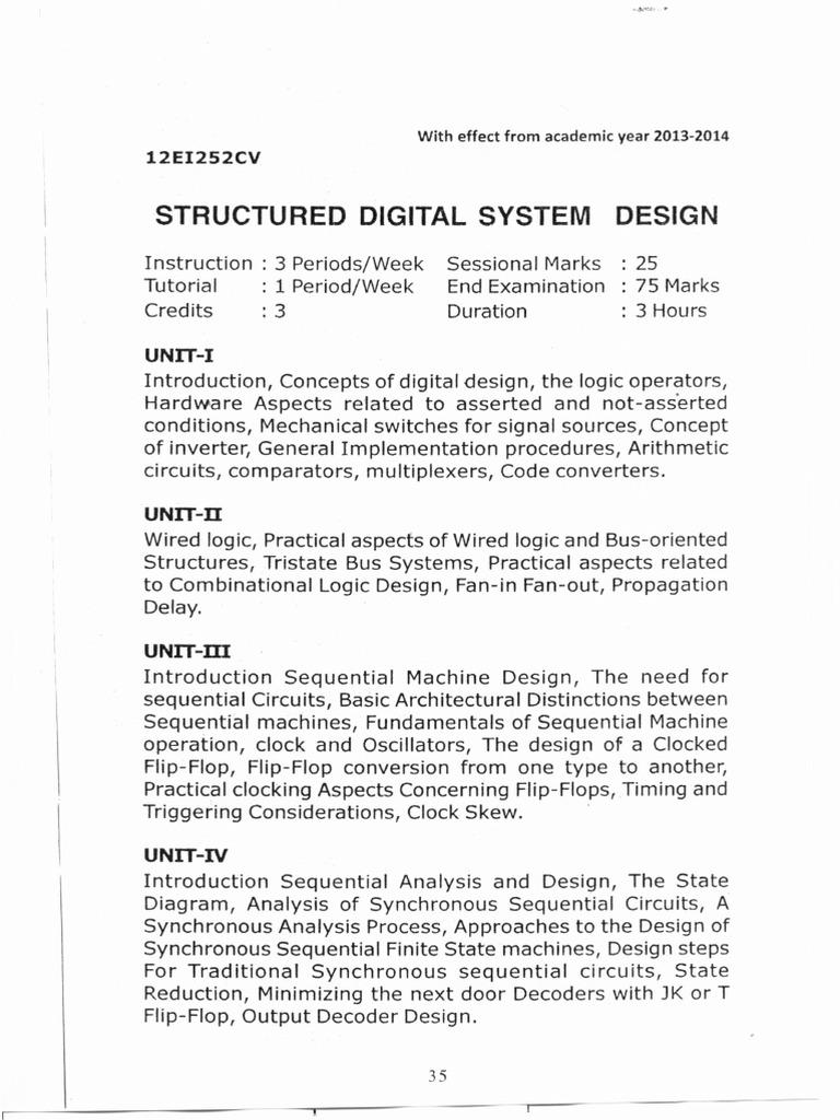 Structured Digital System Design Syllabus Digital Electronics Electronic Circuits