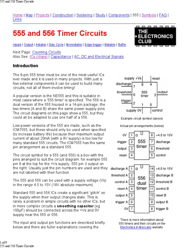 555 And 556 Timer Circuits Capacitor Electronic Lm555 Circuit Page