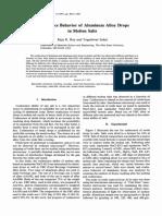Coalesence Behavior of Aluminum Alloy Drops in Molten Salts