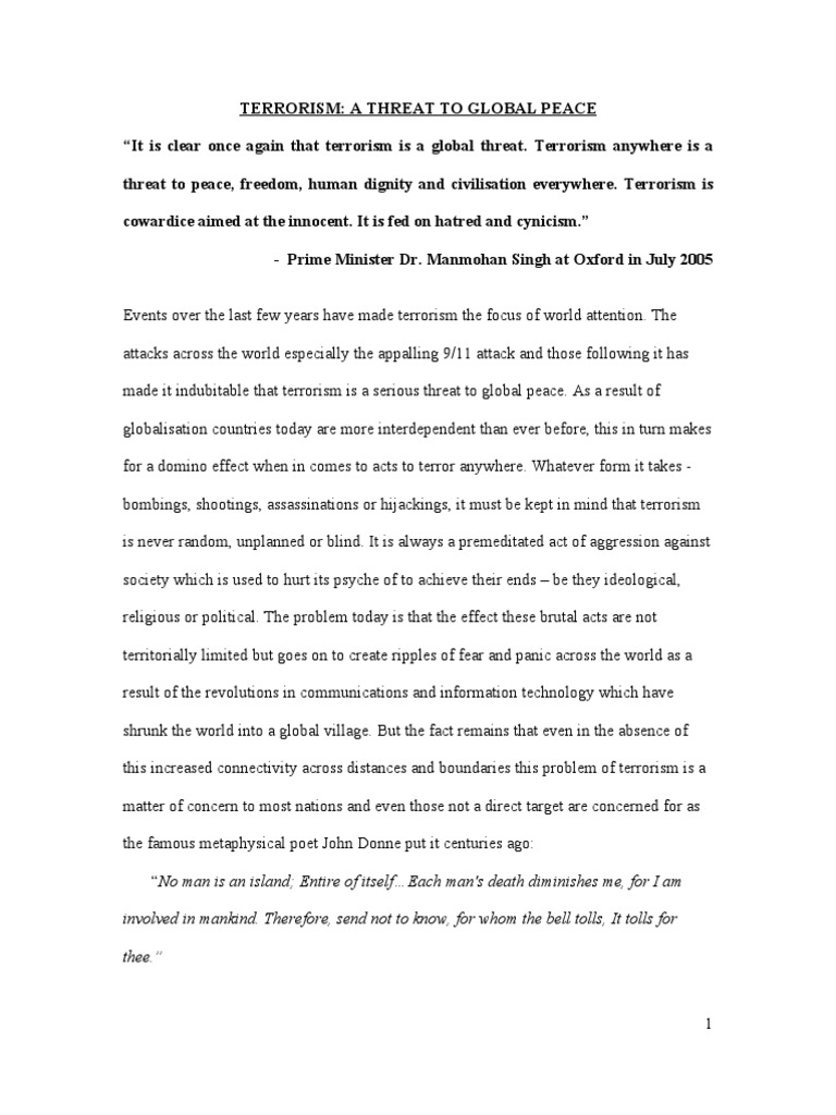 Essay For Science Essay On Terrorism A Threat To Global Peace The Aim Of The Following Essay  Will Be  A Portrait Of The Artist As A Young Man Essay also Most Memorable Moment Essay Essay On Terrorism A Threat To Global Peace Term Paper Help College Essay Examples