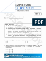 JEE Main 2019 Mathematics Sample Question Paper