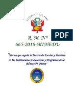 Rm 665 2018 Minedu Anexo Lineamientos Matricula Escolar 20191