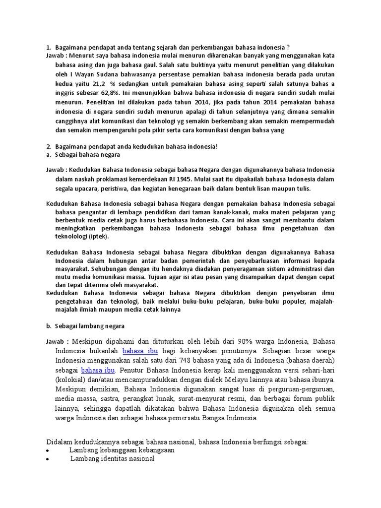 Bagaimana Pendapat Anda Tentang Sejarah Dan Perkembangan Bahasa Indonesia