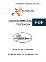 Especificaciones Técnicas Vivienda La Cascarilla