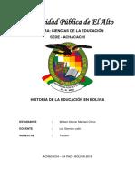 Historia de La Educacion en Bolivia