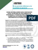 DESICION 783  INVIMA INFORMA SOBRE NUEVA DISPOSICION LEGAL EN MATERIA DE AGOTAMIENTO DE EXISTENCIAS