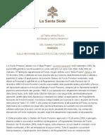 Papa Francesco Lettera AP 20150528 Revisione Statuto Fondo Pensioni