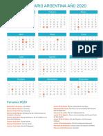 Calendario 2020 Argentina Para Imprimir Pdf.Calendario 2019 Una Pagina Pdf Calendar Colombia