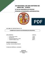 INFORME DE SISTEMA DE GENERACION DE FRIO