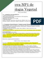 Prova NP1 de Fisiologia Vegetal