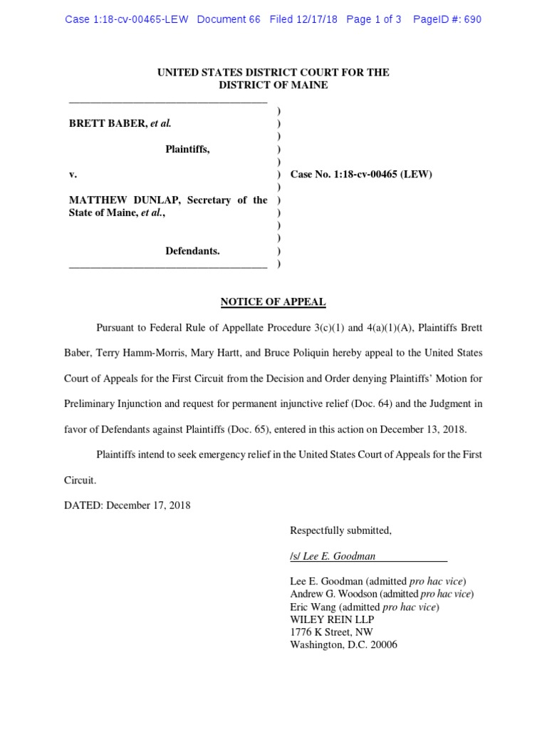 Poliquin's lawyers file appeal of RCV ruling