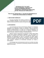Práctica de Laboratorio v Afilado de Herramientas de Corte Para Operaciones de Torneado