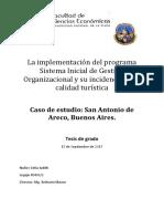 Nuñez. La Implementación Del Programa Sistema Inicial de Gestión Organizacional y Su Incidencia en La Calidad Turística