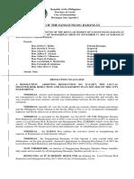Barangay Resolution on Bdrrmc