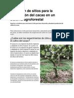 Selección de Sitios Para La Producción Del Cacao en Un Sistema Agroforestal