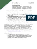 Lecture 12- Genetics IV