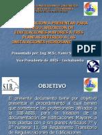 DOCUMENTACION A PRESENTAR PARA LA REGULARIZACION DE EDIFICACIONES MAYORES A TRES PLANTAS REFERIDO A LAS INSTALACIONES HIDROSANITARIAS