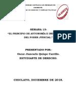 El Principio de Autonomía e Independencia Del Poder Judicial.