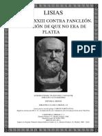 Lisias - Discurso XXIII Contra Pancleon Acusacion de Que No Era de Platea