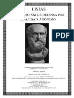 Lisias - Discurso XXI de Defensa Por Venalidad