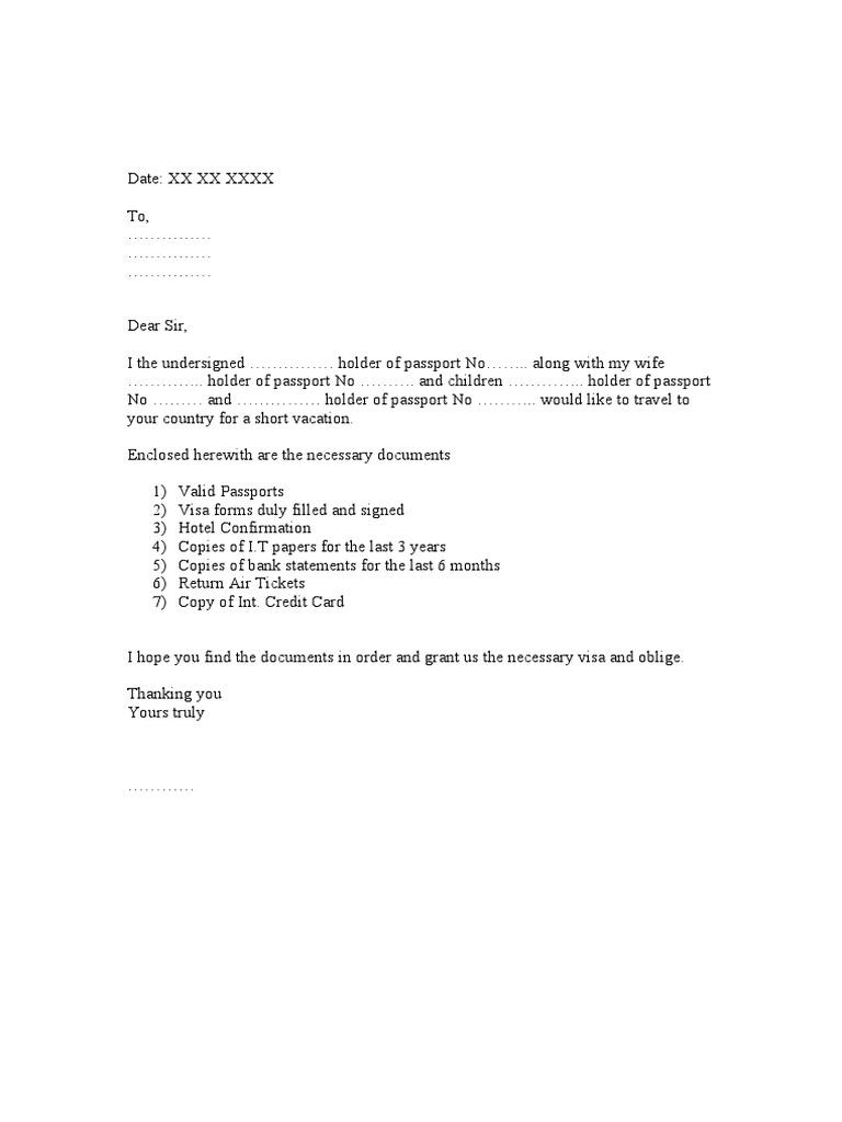 covering letter for visa application for egypt also