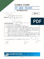 JEE Main 2019 Mathematics Sample Question Paper II