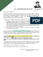 SETMANA CULTURAL – COLÒNIES 2019 de P3 i P4