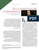 Spinoza o La Política de La Inmanencia