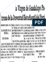 Decreto Declara Virgen de Guadalupe Patrona de La Juventud Estudiantil Del Peru