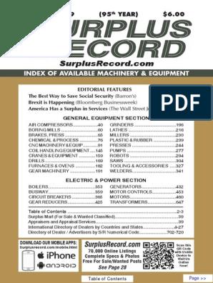 JANUARY 2019 Surplus Record Machinery & Equipment Directory
