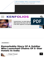 Remarkable Story of a Soldier Who Launched Chains of 5-Star Hotels in India - KenFolios